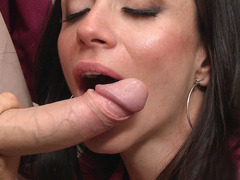Ariella Ferrera sucks and titfucks big juicy prick