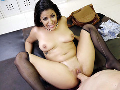 Mia Martinez in stockings gets her shaved pussy nailed