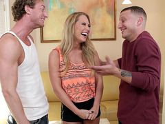 Carter Cruise flirting and kissing with two guys