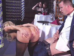 Waitress Candice Dare sucking Jessy's cock in the restaurant