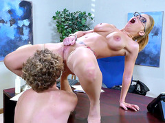 Britney Amber gets licked by her new boss on his desk