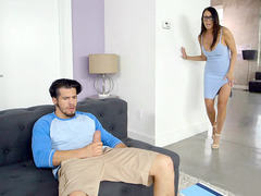 Brunette Reagan Foxx caught the guy pleasing his dick