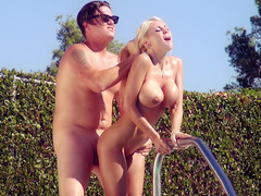Curvaceous blonde babe Kayla Kayden fucks her local lifeguard