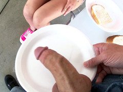 20 year old Aidra Fox gobbled down a meaty dick