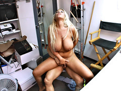 Spanish babe Bridgette B bounces on his dick in the backroom
