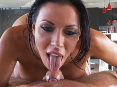 Oiled pornstar Rachel Starr sucks and strokes hard cock