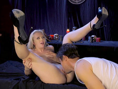 Samantha Rone in sexy high heels getting her sweet pussy licked