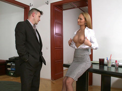 Blonde office babe Kery Miller seduces her horny boss
