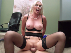 Big breasted secretary Gigi Allens riding her boss in the office