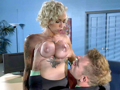 Big-titted employee Harlow Harrison has her tits licked by her boss