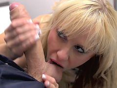 Carla Cox sucking his balls and his outrageously large penis