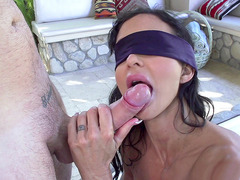 Blindfolded MILF Jewels Jade sucks young cock, thinking it's her husband
