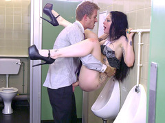 Alessa Savage gets her British pussy fucked in the men's room