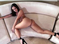 Little hottie Jada Stevens posing nude on the sofa