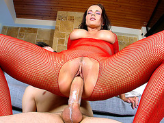 Cindy Dollar wearing fishnets riding fat rod reverse cowgirl