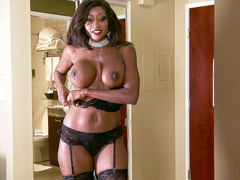 Diamond Jackson teasing him in her sexy lingerie and stripping