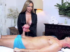 Busty masseuse Subil Arch does a Russian massage called strokemoff