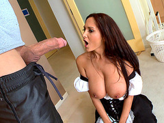 Busty maid Ava Addams swallows his giant cock