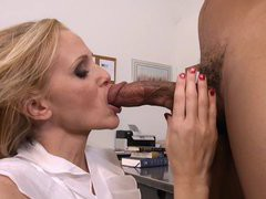 Professor Julia Ann gives some great sloppy head in the classroom