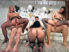 Phoenix Marie, Kristina Rose and Chanel Preston ride three guys anally
