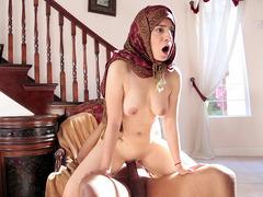 Nadia Ali wearing nothing but hijab rides huge black cock