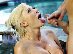 Fine blonde whore Summer Brielle gets her mouth filled with cum