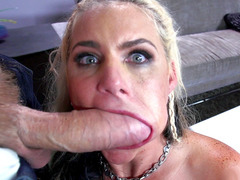 Phoenix Marie starts giving a mean blowjob and sucking balls