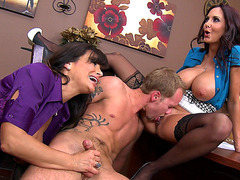 Ava Addams and Lisa Ann decides to theat him in the office