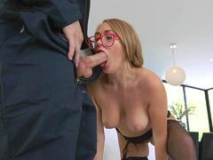 Kandace Kayne in glasses sucks that big pole