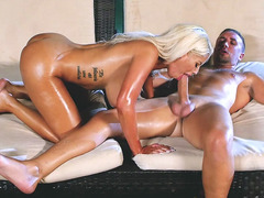 Busty bombshell Bridgette B sucking big Keiran's cock