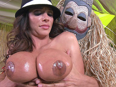 Ariella Ferrera lets him oil and squeeze her humongous tits