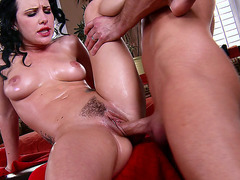 Katie St. Ives enjoys his big cock drilling her hairy cunt
