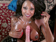 Diamond Jackson taking fat load on her chest and into her mouth