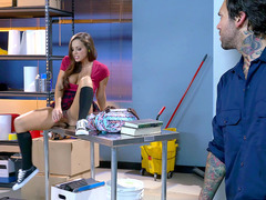 Grizzled custodian finds Abigail Mac rubbing her pussy