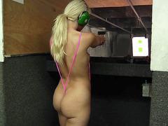 Anikka Albrite having fun at the shooting range