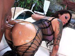 Nikita Denise takes huge oiled cock deep and fast in her tight ass