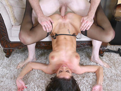 Silvia Saige has her MILF cunt drilled in piledriver position