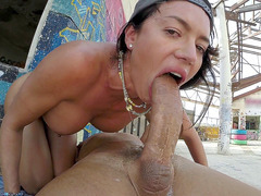 Franceska Jaimes gags as she does the craziest deepthroat ever