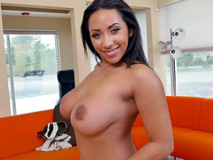 Mixed raced suductress Priya Price reveals her huge natural tits