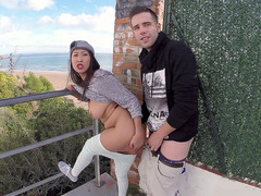 Sharon Lee gets her tight Asian cunt slammed on the balcony