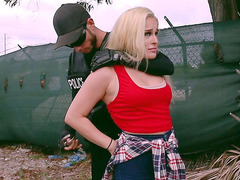 Blonde teen Mila Marx was caught by the policeman