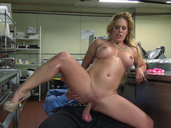 Horny MILF Cherie DeVille riding the hard cock in the kitchen