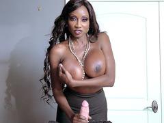 Diamond Jackson sucks and tit fucks her perverted employee's huge rod