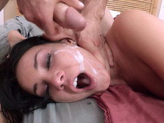 Little bitch Tanner Mayes takes a big facial cumshot