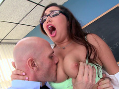 Busty schoolgirl Karlee Grey lets her teacher lick her boobs