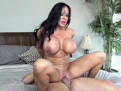 Giant breasted Sybil Stallone bounces on that hard member