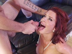 Veronica Avluv received a facial that she licked up fast