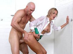 Audrey Show getting her tight snatch pounded hard in the shower