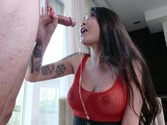 Brenna Sparks deepthroats the big cock and licks balls