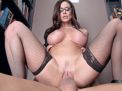 Busty librarian Kendra Lust rode thick cock in the library
